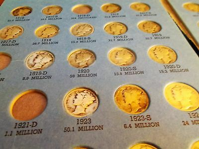 Silver Mercury Dime Collection***69 Coins In Whitman Folder***some Hard Dates