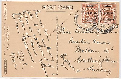 PALESTINE 1922 *THE BASILICA CHURCH OF THE NATIVITY BETHLEHEM* post card to UK