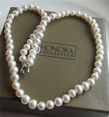 HONORA 6-7mm WHITE FW PEARL STERLING SILVER CLASP NECKLACE 46cm NEW BOXED QVC