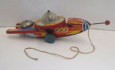 1950s Fish Price SPACE BLAZER Wooden Pull Toy