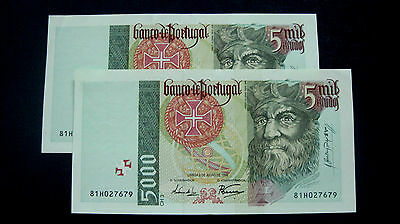 Portugal Banknote 5000 Escudos 1998 Pair Running Numbers Au-Unc