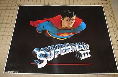 """1982 SUPERMAN III 16"""" x 20"""" Promo Poster Impact - Christopher Reeve Flying"""