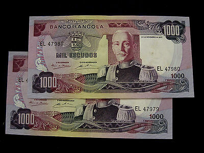 Angola Banknote 1000 Escudos 1972 Pair Running Numbers Au-Unc