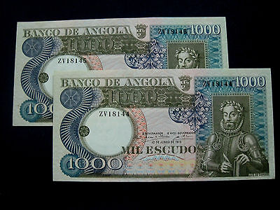 Angola Banknote 1000 Escudos 1972 Pair Running Numbers Unc
