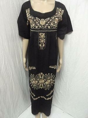 Women's Vintage Unbranded black combo embroidered mexican dress