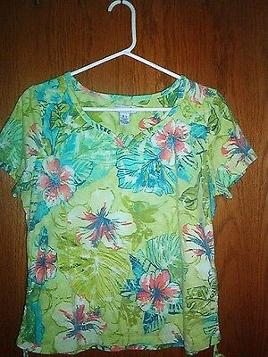 Women's knit top-CARIBBEAN JOE-size L (large)-tropical floral-cotton