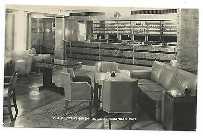 "SHIPPING - P.& O. ""STRATHEDEN"" - FIRST VERANDAH CAFE R.P. Postcard SOUTH AFRICA"