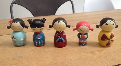 MOMIJI WOODEN DOLLS X 5 FROM 2006 to 2008