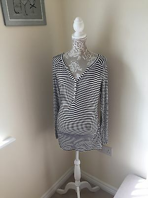 Ladies Black And White Striped Maternity Top Size Medium H&M