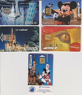 5 Telecartes Phone Cards Parc Disneyland Mickey +Roi Lion Port Gratuit En France