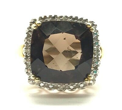 Sterling 925 Gold Tone Cushion Brown Smoky Topaz Diamond Halo Cocktail Ring Sz 7