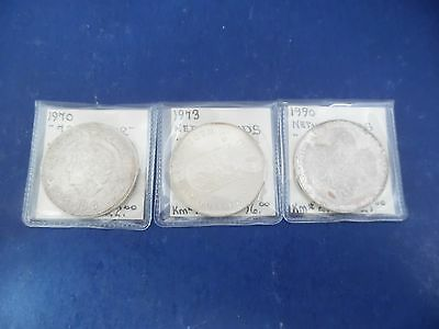 Lot of (3) Netherlands Silver Coins 1970- 1990 K520