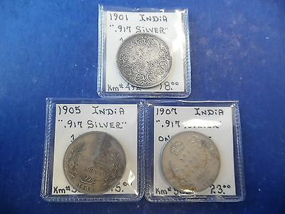 Lot of (3) India.917 Silver Coins One Rupee Nice!!!   K532