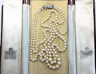 Art Deco, Garrard's Saltwater Cultured Akoya Pearl Necklace on Diamond Clasp