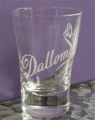 rare find Tall Whiskey SHOT Glass DALLEMAND & CO Chicago etched  1885-1906