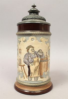 Fine Antique c1900 HR Germany Hand Painted Incised Porcelain Beer 1/2L Stein