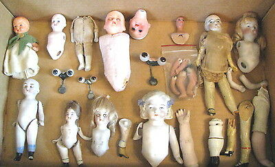 Antique German Doll Lot.As Is!! 40 plus pieces. Whole dolls.  o/c  eyed  dl. Etc