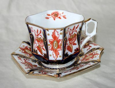 Ornate Antique Wileman & Co (Pre Shelley) Imari Cup & Saucer, Red/Cobalt Blue