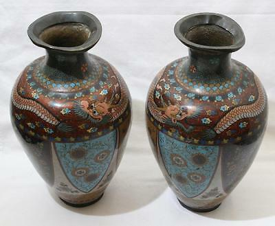 "Superb Pair of Antique Oriental Chinese Cloisonne Dragon Vase 12"" In Height"