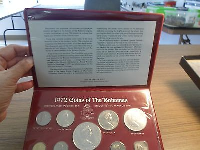 1972 Silver Uncirculated Specimen Coin Set Of The Bahamas - Franklin Mint