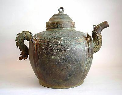 RARE - Le Mac Dynasty Vietnam. Perfect - Complete BRONZE DRAGON Ewer