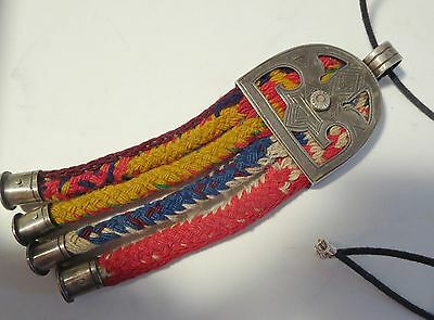 """Tribal Silver Pendant 24g Peruvian? Marked """"DC"""" Clasp 925 Necklace"""