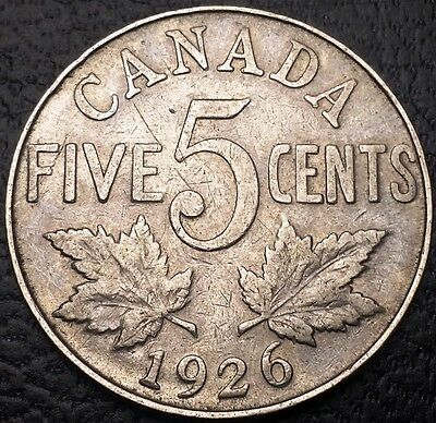 1926 Canada 5 Cents Nickel - Great Condition - Near 6 Variety