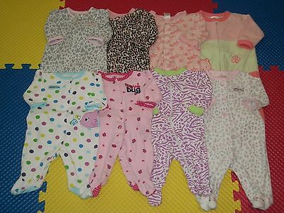 Lot of 8 Baby Girl Footed Sleepers PJ Sleepwear Clothes 0-3 M Months Carter's+