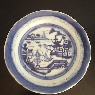 Antique Chinese Ming Dynasty Blue and White Porcelain Bowl Dish