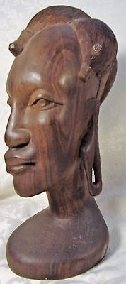 Antiique Hand Carved Ebony Wood African Tribal Art Sculpture Head/Bust Woman