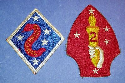 ORIGINAL CUT-EDGE WW2 2nd MARINE DIVISION PATCHES, 1st & 2nd STYLES