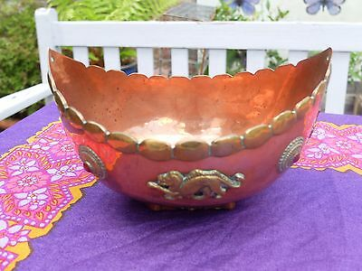 Vintage Copper And Brass Ornate Bowl - Decorative Detail