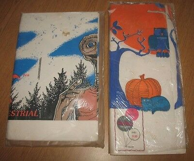 Lot of 2 Vintage Paper Tablecloth Halloween E. T.