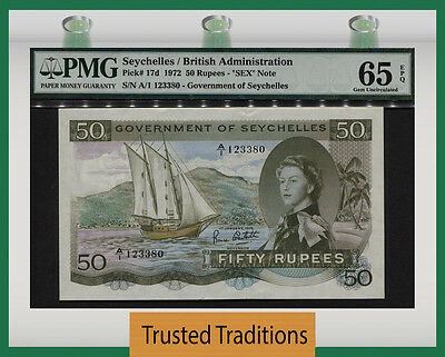 "TT PK 17d 1972 SEYCHELLES 50 RUPEES ""SEX NOTE"" PMG 65 EPQ GEM UNCIRCULATED"