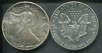 USA 1986 - 1 Dollar in Silber (1 Unze), stgl. - AMERICAN EAGLE Liberty