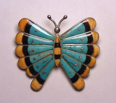 Vintage Native American Sterling Silver Spiny & Turquoise Butterfly Pin Pendant