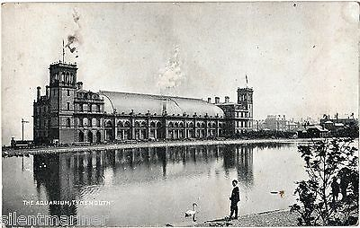 Tynemouth, The Aquarium, old b+w postcard, unposted