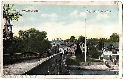 Wallingford, Church, Bridge, Town Arms & Boat House, coloured postcard, posted