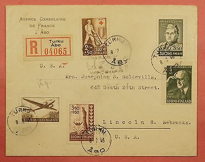 1946 Finland Multi Franked Registered Cover Turku Abo France Consulate To Usa