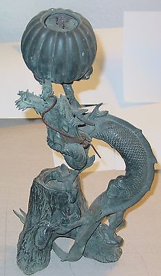 Antique Chinese Bronze  Incense Burner With Dragon Signed