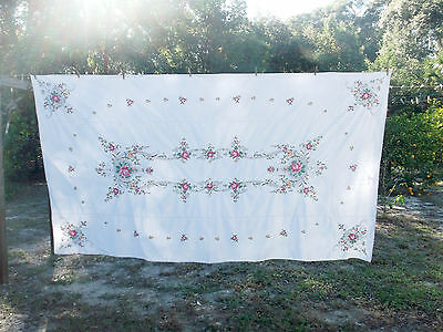 Vintage Huge Shabby Cottage Chic Embroidered Roses Tablecloth Napkins Lot 13pc