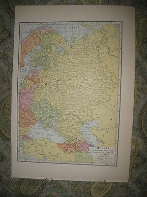 Antique 1930 Russia Ukraine Finland Estonia Latvia Lithuania Map Ukrainia Rare