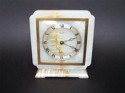 Quality Elliott London White Onyx Mantle Clock Retailed by Crabb Glasgow