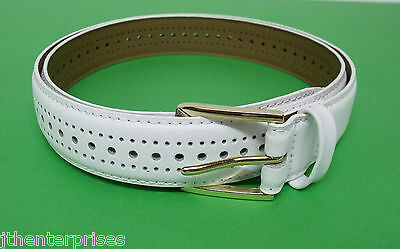 "Lawn Bowls Porthole White Belt  Leather Sizes 32"" to 60 "" Stitched all around"
