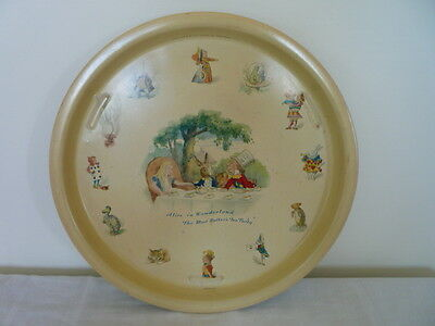 Vintage Alice in Wonderland Tin Tray England Collectable Mad Hatter Tea Party