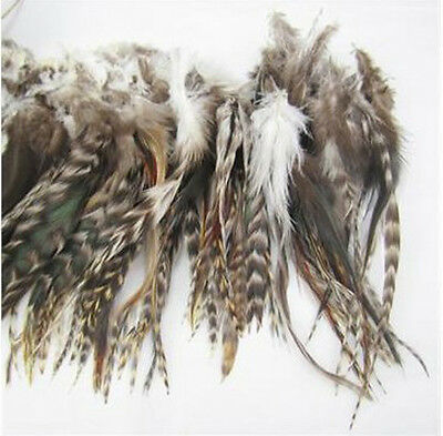 NEW 40Pcs Natura grey Colors Grizzly Feathers hair for extensions 6-8inch long C