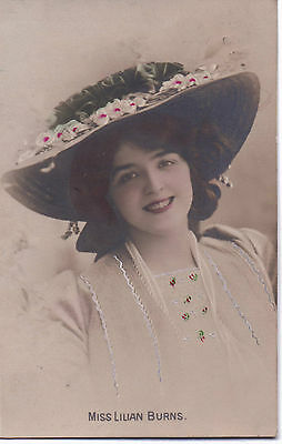 Vintage Photographic Postcard depicting Miss Lilian Burns posted 1908