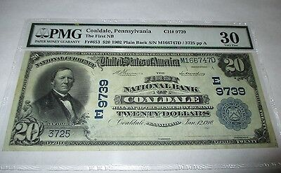 $20 1902 Coaldale Pennsylvania PA National Currency Bank Note Bill Ch. #9739 VF