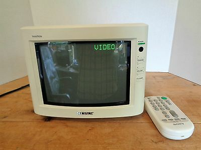 """Vintage 1992 SONY Model KV-8AD12 8"""" Trintitron Color TV AC or DC Works Well!"""