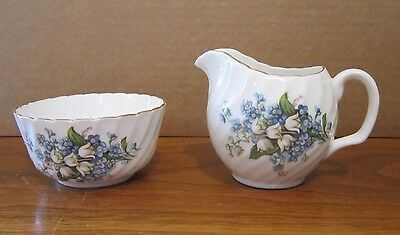 Adderley Set Creamer & Sugar Bone China England Lilly of Valley Forget Me Not